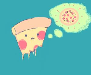 Half eaten pizza slice misses his pie