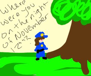 Police woman interrogates tree