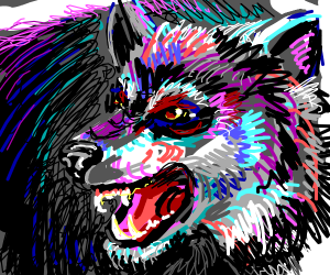 Colourfully drawn wolf is not happy