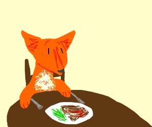 fox having dinner