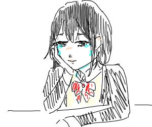 sad animee girl