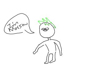 "man with green hair says ""Im morshu"""
