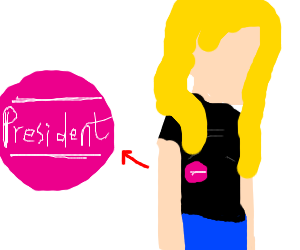 Girl with pink badge that says president