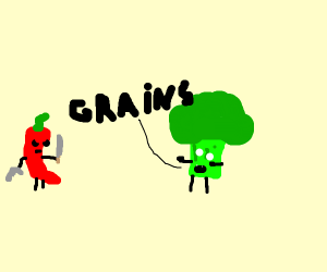 "Broccoli zombie says, ""GRAINS!"""
