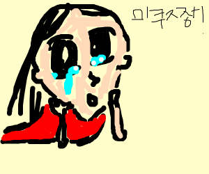 Anime girl cries with broken glasses in hand