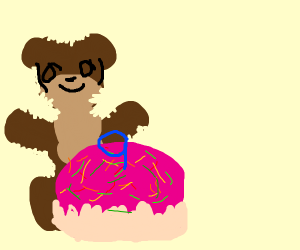 Naked bear w/ birthday cake