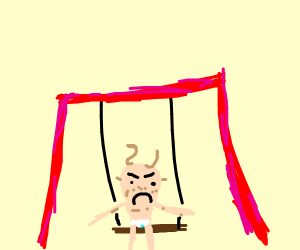 Fugly, angry baby on a swing.