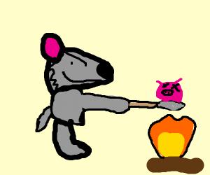Wolf roasting a pig