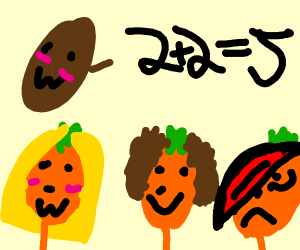 Sweet potato teaching math to orange children