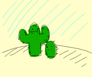 Cactus telling baby cacti a story in desert