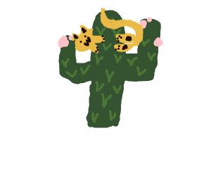 cat behind cactus
