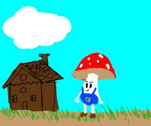 mushroom people in a village