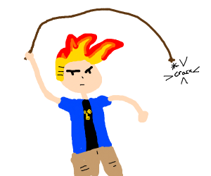 johnny test cracking a whip
