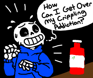 Sans (Undertale) scared of Ketchup