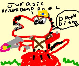 Deadpool, as a T-Rex