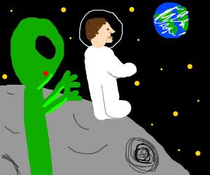 Alien sneaks up on astronaut