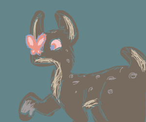 Butterfly on Bambi's Nose