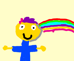 Purple Haired Guy with a rainbow behind him