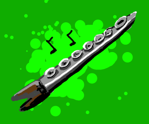 A pointy flute with a pig hoof at the end