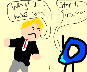 Donald quakes at drawception