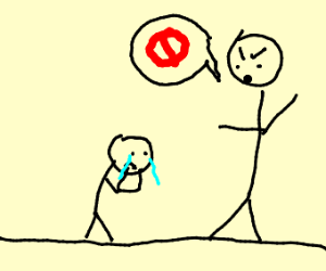 Man shouts NO at crying kid