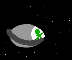 Alien flying through space in his ship