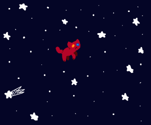 red kitty floating through space