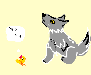 Chick thinks wolf is it's momma