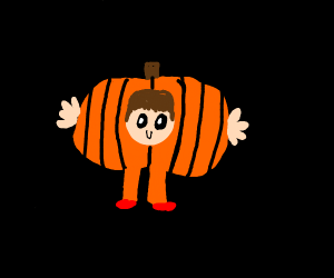 Kid in a pumpkin costume