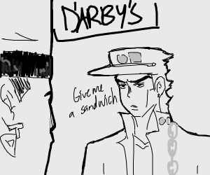 Jotaro goes to D'Arby's to get a sandwich.