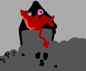 Satan eating a donut
