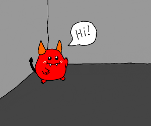 devil greeting you in the corner