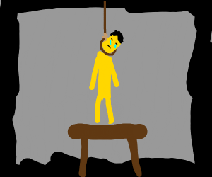 a yellow man about to commit suicide