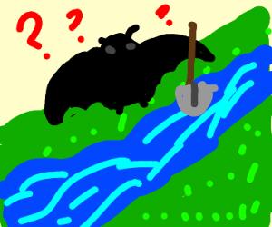 Bat digging into a River