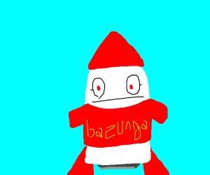 Rocket wearing red t shirt
