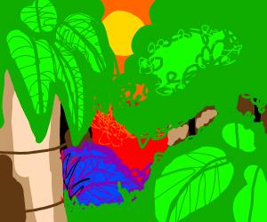 A scenic colourful jungle