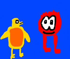 """Yellow Penguin and Puffle w/legs. """"S'up?"""""""