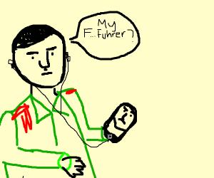 Depressed Hitler staring at a smartphone