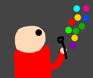 Person blowing Gumball bubbles