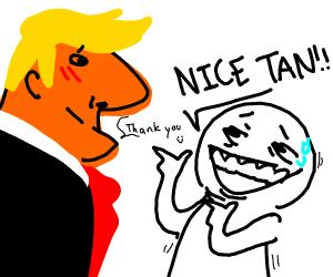man takes tanning too far