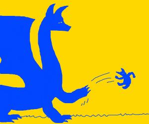 Big blue dragon flicks a goblin away