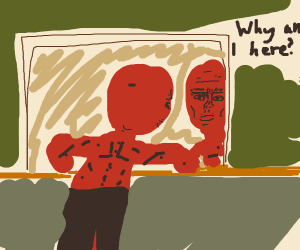 A Red Dude Contemplating Really Hard