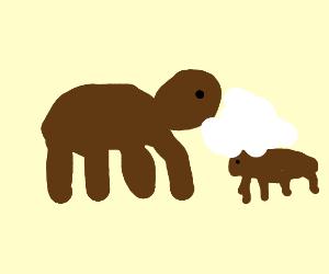 bear vomits milk on cub