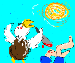 Eagle murdered a man in blue shorts