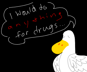 duck that would do anything for drugs