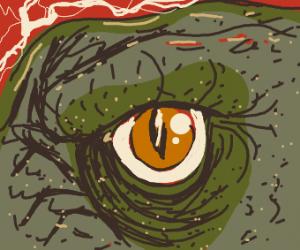 Close-up of Godzilla