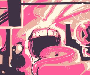 abstract art eats pink gloop