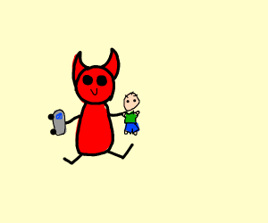 Cute devil playing with toy people and Cars