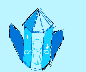 Person trapped in a crystal