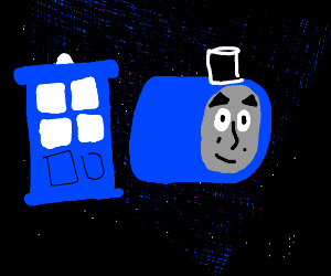TARDIS in space next to a train